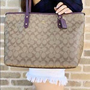 Coach Khaki Metallic Rasberry Tote Handbag